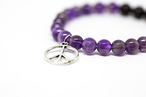 (Kid's Amethyst Gemstone Bracelet with Peace Charm Diffuser Bracelet by Diffuse Casually| Essential Oil Aromatherapy Healing Jewelry for All)