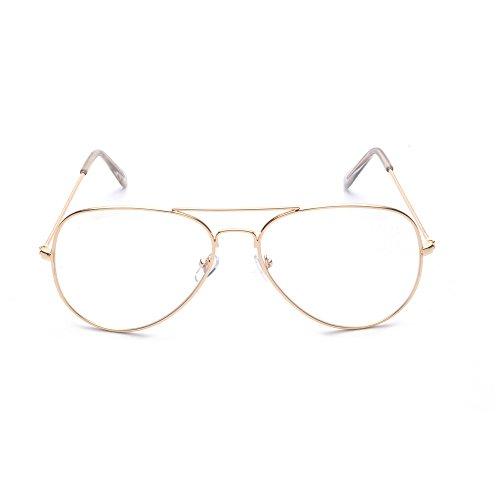 claros aviador la del de metal Vidrios del Dorado lente Marco de Vidrios la Vidrios ALWAYSUV la manera de vendimia OPwxzXaq