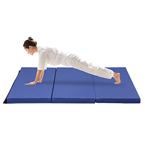 ZENOVA Gymnastics Mats High Density Thick Crash Pad Landing Mats for Kip Bar Home Workout Mat Athlete Mats(PVC-Blue)