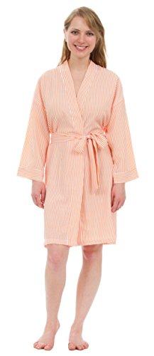 (Leisureland Women's Classic Stripe Seersucker Short Robes (One Size, Tangerine))