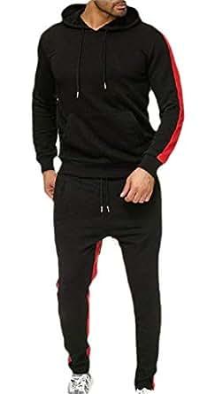 Men Long Sleeve Hooded Sweatshirt Set Jogging Tracksuit Gym Joggers Set Top Black XS