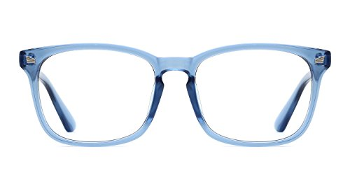 TIJN Unisex Non-Prescription Eyeglasses Glasses Clear Lens Square Eyewear Blue ()