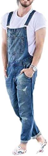 [해외]ouxiuli Mens Distressed Ripped Stretchy Bib Overalls Jeans Stylish Long Pant / ouxiuli Mens Distressed Ripped Stretchy Bib Overalls Jeans Stylish Long Pant