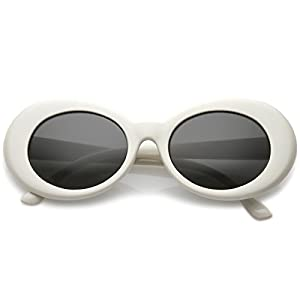 zeroUV - Bold Retro Oval Mod Thick Frame Sunglasses Clout Goggles with Round Lens 51mm (White / Smoke)