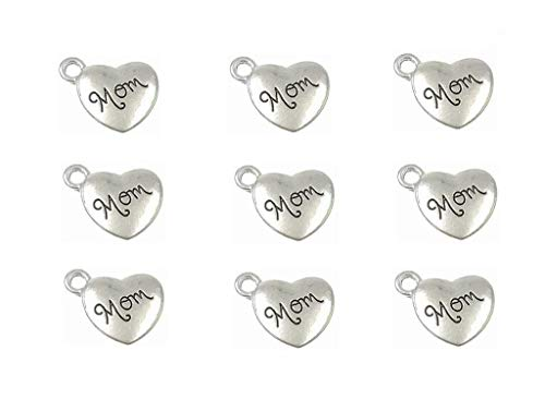 30pcs Mom Charm,Heart Shape Double-Faced Pendant for Mother's Day as DIY Bracelet Necklace Jewelry Making Findings(Antique Silver) -