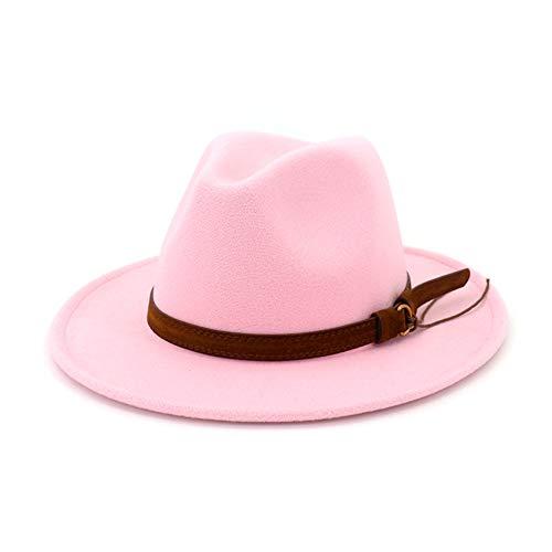Hat Fedora Pink (Lisianthus Men & Women Vintage Wide Brim Fedora Hat with Belt Buckle Pink 58-60cm)