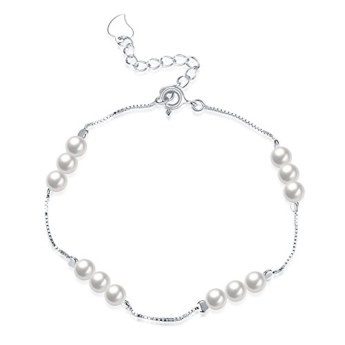 (SOMUNS 925 Silver Bracelet Bracelet,Fashion Simple Pearl Bracelet Jewelry for Women,Girlfriends,Mother,Sister)
