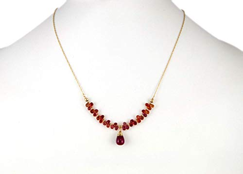 (Hand Wrapped Ruby Pendant Necklace Faceted Sapphire Drop Briolettes 14K Gold Round Beads on a Solid 14K Gold Chain 17