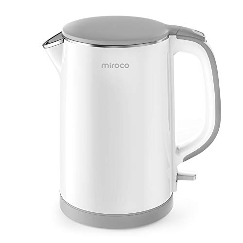 Electric Kettle, Miroco Double Wall 100% Stainless Steel BPA-Free Cool Touch Tea Kettle with 1500W Fast Boiling Heater, Cordless with Auto Shut-Off & Boil Dry Protection, White