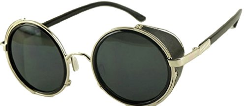 Vintage Nouveau Style Noir Unisexe Shades de Lunettes Goggles Soleil Rondes Argent Steampunk Cyber pfqwpczrW