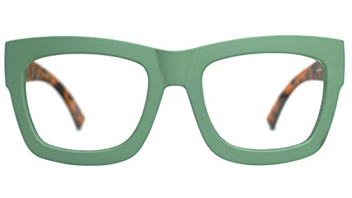 Vintage Inspired Geek Oversized Square Thick Horn Rimmed Eyeglasses Clear Lens (GREEN 30101, ()