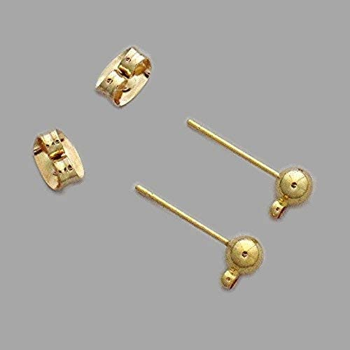 300 Beadsmith 4mm ANTIQUE BRASS  Ball w//Post /& Loop Earrings THREE HUNDRED