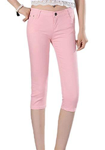 Cintura Cortos Botón Jeans Slim Fit Color Capri Pink Sólido 4 Baja De Verano Las Pantalones Casuales Stretch Mujeres 3 vvI6wq