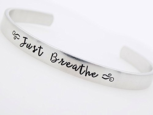 Inspirational Cuff, Motivational Jewelry, Inspire Bracelet, Depression, Loss, Mourning, Just breathe, Moving on Breakup Sadness, Empowerment for her