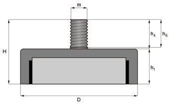 Ferrit Flachgreifer /Ø 63,0 x 14,0 mm Gewinde M8x16 Magnet zum Anschrauben mit Au/ßengewinde verzinkter Stahltopf verwendbar bis 200/°C 35 kg