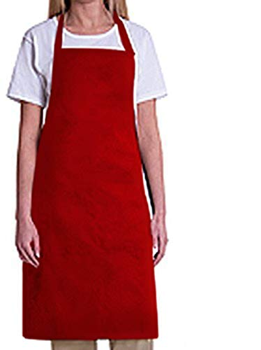 Red Bib Apron - Bib Aprons-MHF Aprons-1 Piece Pack-2 Waist Pockets- New Spun Poly-commercial Restaurant Kitchen-(Red)