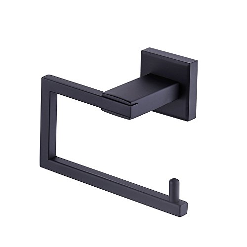 KES Matt Black Toilet Paper Roll Holder Toilet Tissue Holder SUS 304 Stainless Steel Modern Square Style Wall Mount, A2470-BK