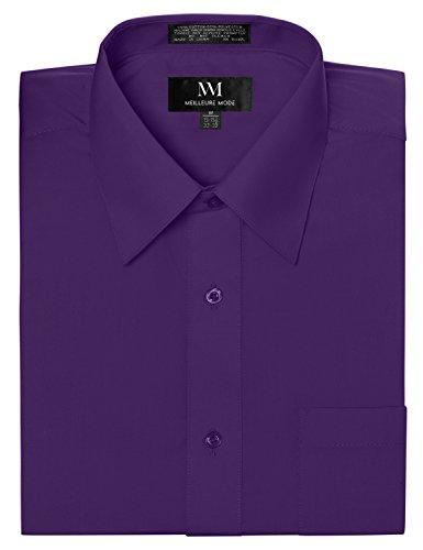 Meilleur Mode Solid Color Regular Fit Long Sleeve Dress Shirt S-5XL Purple 2XL Sleeve 36-37 (Moda Color)