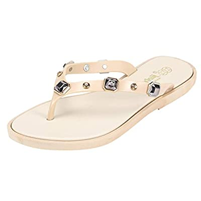 RAINED-Women's Casual Flip-Flops Beachwear Slippers Comfortable Non-Slip Sandals Beaded Walking Sandals Summer Slippers