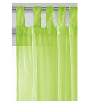 Lime Green Voile Curtain Panel - Tab Top 59 x 90: Amazon.co.uk ...