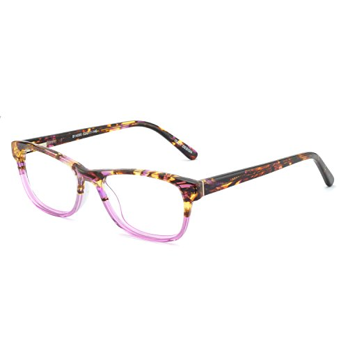 (OCCI CHIARI Rectangle Stylish Non-prescription Optical Women Eyewear Frame With Clear Lens (4090-Pink(Anti-Blue)
