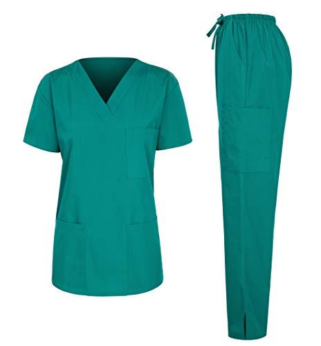 7047 Womens Scrub Sets Uniform Medical Scrubs Top and Pants Light Green M - Medical Scrubs Sets