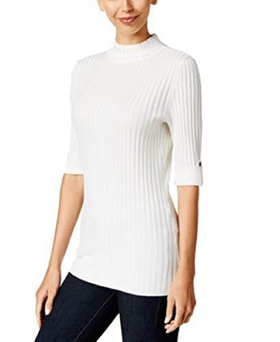 Ribbed Style Co Petites & - Style & Co. Petite Ribbed Mock-Neck Sweater (Winter White, PS)