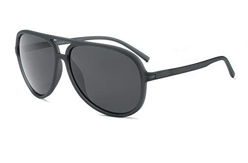 Polarized Aviator Sunglasses for Men Women Black TR90 Frame Ultralight Sunshades (Matte Grey, 65) ()