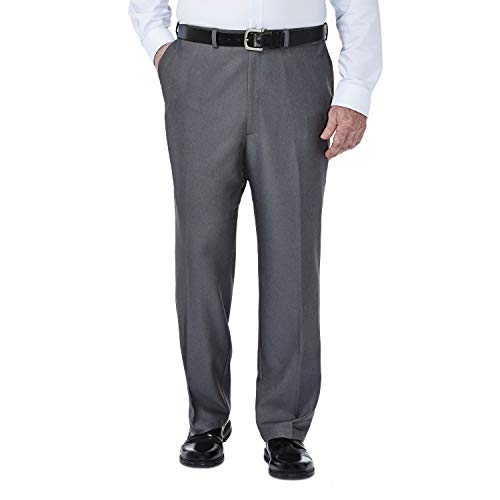 Haggar Men's Big-Tall Cool 18 Gabardine Hidden Expandable Waist Plain Front Pant, Heather Grey, 46x32 ()
