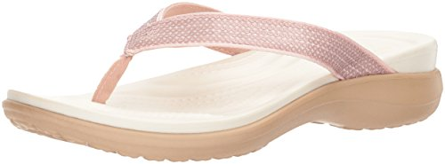 Crocs Women's Capri V Sequin W Flip-Flop, Rose Gold, 7 M US