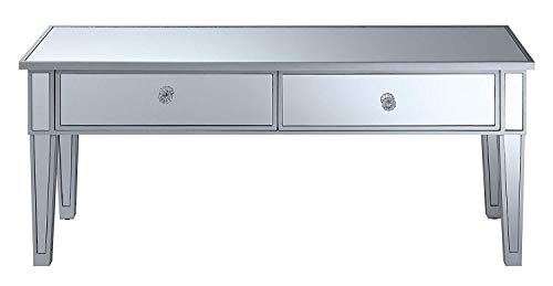 Convenience Concepts 413382SS Coffee Table with Two Drawers, Mirror/Silver -
