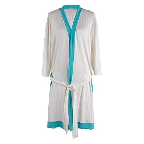 Hello Mello Lightweight Signature Soft Stretch Women's Two-Tone Lounge Bath Robe White