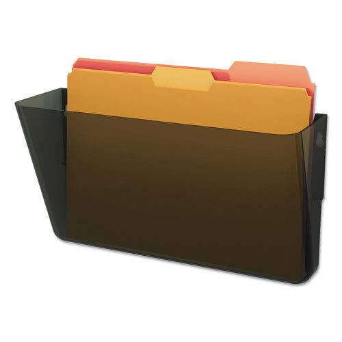 DocuPocket Stackable Wall Pocket, Plastic, Letter, 13 x 4 x 7, Smoke, Sold as 1 Each