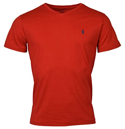 Polo Ralph Lauren Men's Classic Fit V-Neck T-Shirt (X-Large, RED/Navy Pony)