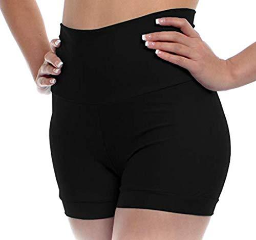 (YiZYiF Girls Youth Basics High Waist Lycra Gymnastics Dance Shorts with Stretchy Fold Over Band Black)