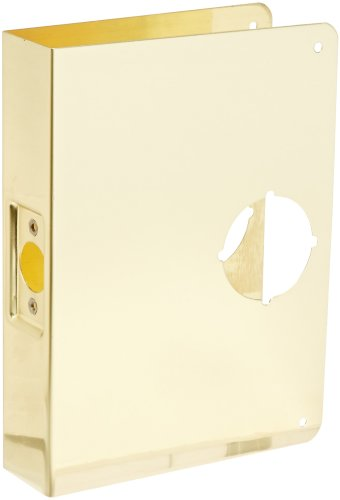 Don-Jo 55-CW 22 Gauge Stainless Steel Mortise Lock Wrap-Around Plate, Polished Brass Finish, 6-1/2