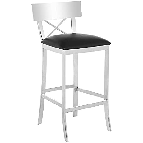 Safavieh American Homes Collection Zoey Black Stainless Steel Cross Back 39 Inch Bar Stool