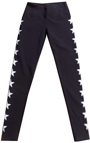 Hard Tail Flat Waist Star Ankle Legging (M, Black)