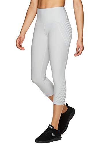 RBX Active Women's Pintuck Fashion Workout Yoga Capri Leggings S19 Grey M ()