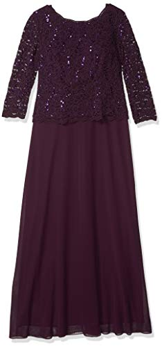 Alex Evenings Women's Long Mock Dress with Sequin Lace Bodice and Illusion 3/4 Sleeves, Deep Plum, 18