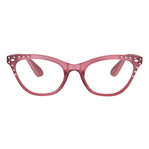 (Womens Magnified Reading Glasses Rhinestone Cateye Spring Hinge Pink +4)