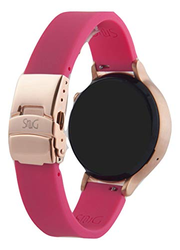 The Original SnuG watchbands 20mm Perfect fit Bracelet Band, Replacement Smart Watch Band Strap - Silicone - Quick Release - Stainless Steel Deployant Buckle (Pink w Rose Gold Buckle)