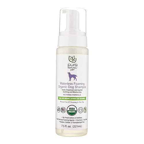 - Pura Naturals Pet - Waterless Foaming Organic Dog Shampoo, Natural Cleanser, No Harsh Ingredients, Eco-Friendly (7.5 oz)