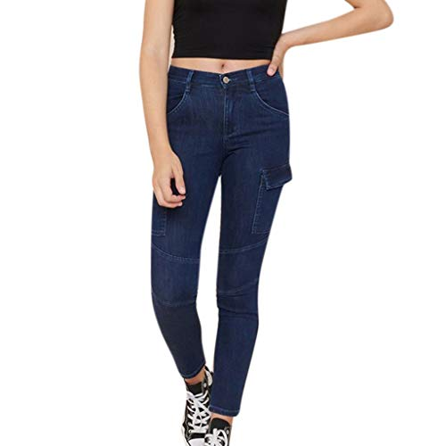 iNoDoZ Women's High Waisted Solid Button Denim Jeans Stretch Long Pants Skinny Pockets Length Jeans Navy
