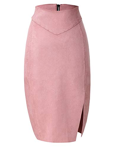 Bellivera Women's Faux Leather Pencil Skirt Hip Wrapped Back Split Pink Large
