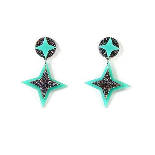 (Aqua Retro Star Earrings for Women, Laser Cut Acrylic Dangle Earrings, Hypoallergenic Nickel)