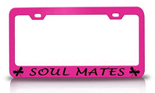 (Personalized Frames Soul Mates with Dragonfly Design Pink Car License Plate Frame Tag Aluminum Metal, License Plate Holder Humor Funny Auto Accessory for US Standard)