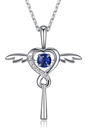 FOREVER QUEEN September Birthstone Necklace with 'Dancing Crystal', Infinity Love Angel Wings Heart Cross Pendant Necklace, 925 Sterling Silver CZ Necklace for Women Girls Birthday Gift, FQ0030-9