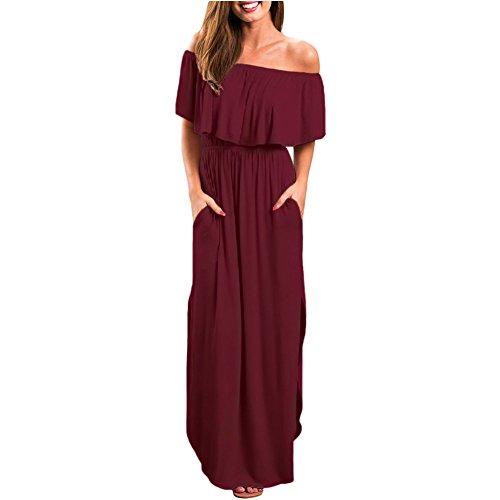 Mei Robe pour paules Red Dnudes Femmes amp;s Longue Wine aBrwx5aq