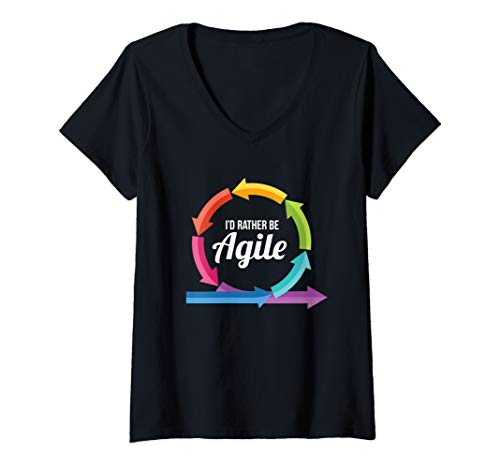 (Womens Rather Be Agile Design for Scrum Project Management Masters V-Neck T-Shirt)